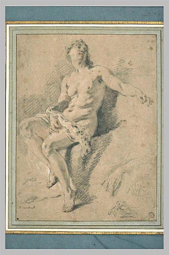 Diane nue, assise sur un rocher, le bras gauche étendu