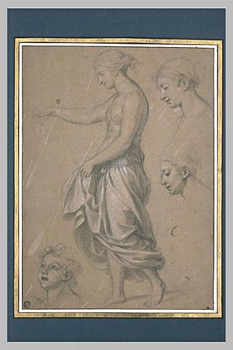 LE BRUN Charles, SANTI Raffaello (inspiré par), RAPHAEL (dit, inspiré par) : Jeune-fille drapée, de profil
