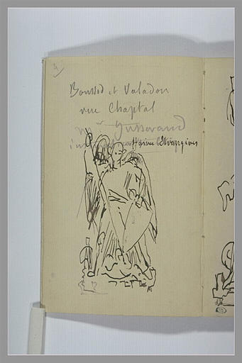 CHAPU Henri Michel Antoine : Etude pour un groupe sculpté : saint Georges combattant le dragon, notes