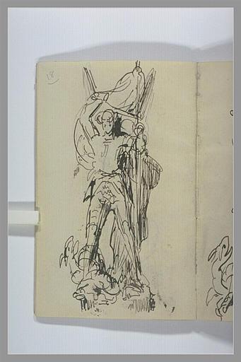 CHAPU Henri Michel Antoine : Etude pour un groupe sculpté : saint Georges combattant le dragon