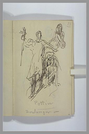 CHAPU Henri Michel Antoine : Etudes pour un groupe sculpté