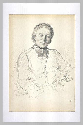 Portrait en buste d'un évêque en rabat et croix pectorale