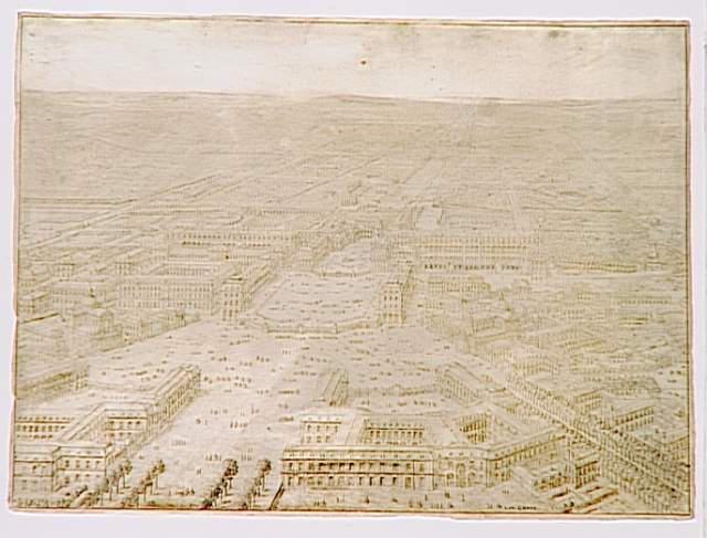 Vue du château et d'une partie de la ville de Versailles ; Vue à vol d'oiseau du château de Versailles prise du côté de la ville - Projet pour la construction de deux églises donnant sur la Place d'Armes (autre titre)