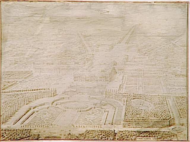 Vue topographique du château de Versailles depuis les jardins ; Vue à vol d'oiseau du château et des jardins de Versailles prise de l'Allée Royale - Projet pour l'aménagement des jardins (autre titre)