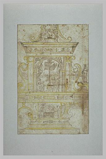 Projet d'autel avec deux scènes : la Crucifixion et la Mise au Tombeau_0