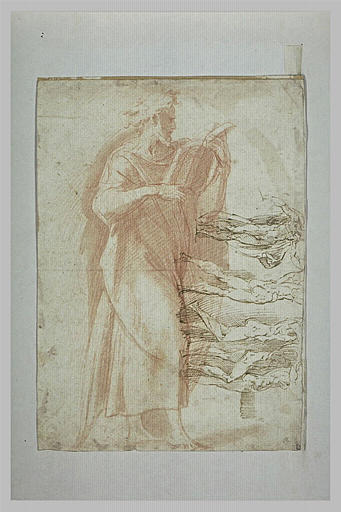 Homme, de profil vers la droite, lisant ; cinq hommes nus