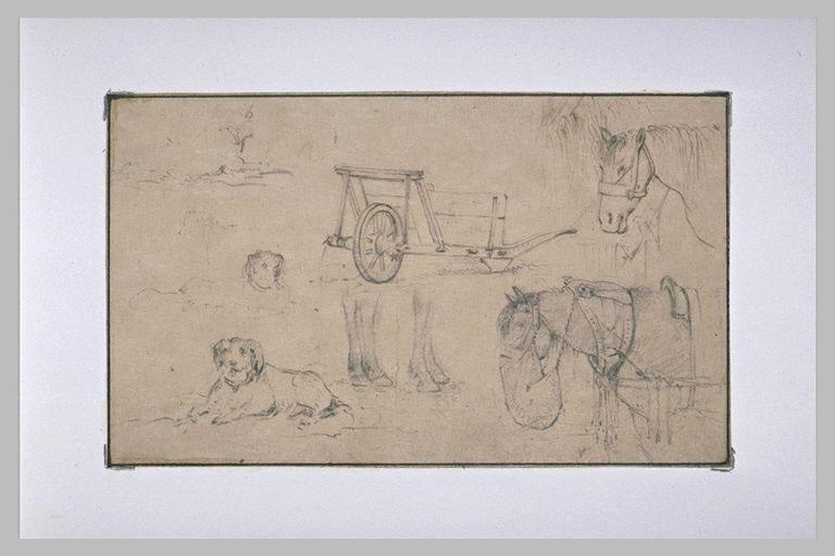 Etudes d'une brouette, de chiens et de chevaux
