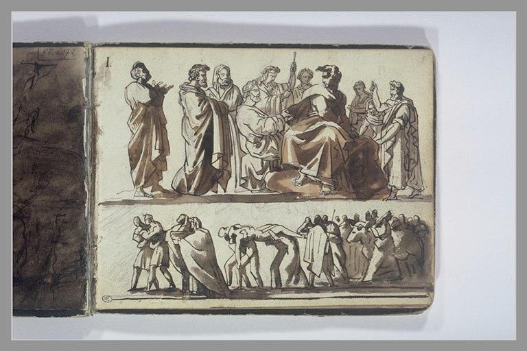 Deux études de compositions d'après l'antique