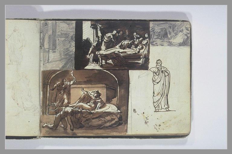 GERICAULT Théodore : Etudes de figure et de compositions d'après l'antique, deux paysages