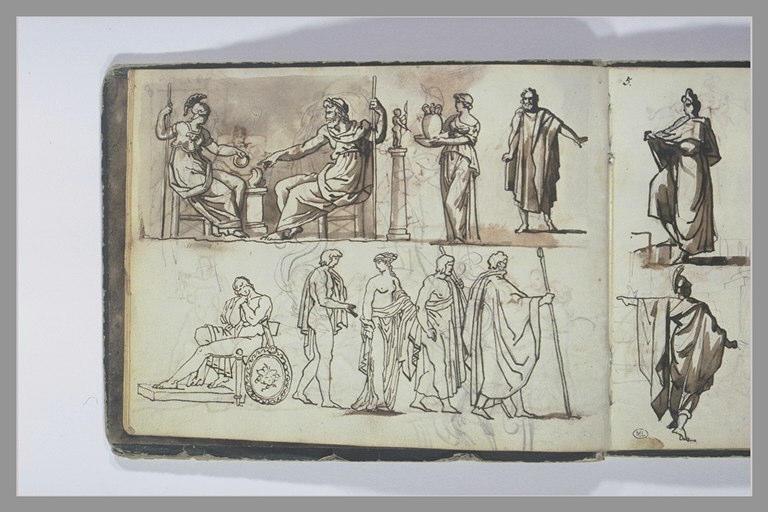 GERICAULT Théodore : Etudes de compositions d'après l'antique
