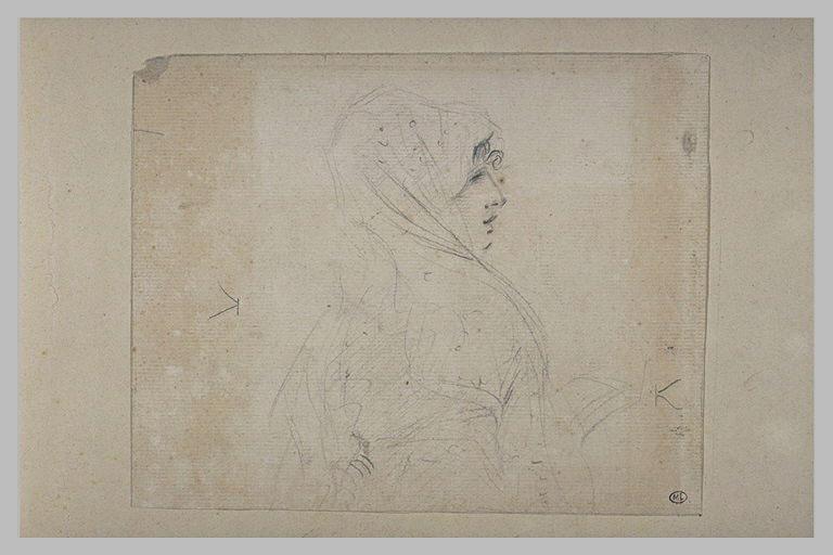 Buste de jeune fille, coiffée d'une mantille, de profil vers la droite