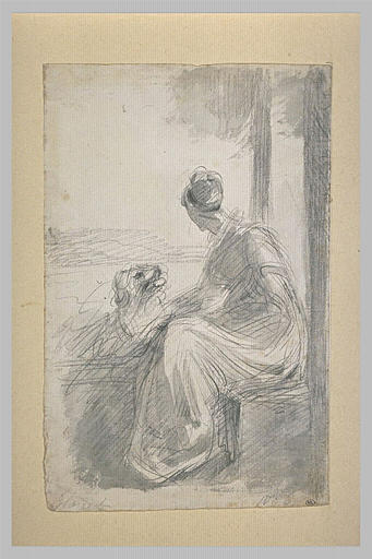 Jeune femme assise sur une balustrade, se détournant, dans un paysage
