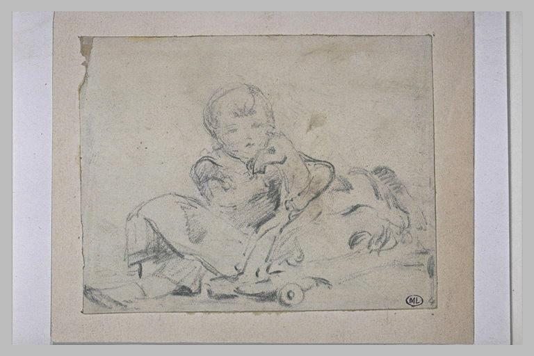Enfant assis, entourant de ses bras le cou d'un cheval de bois