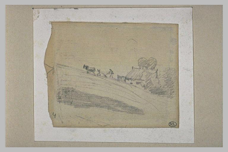 Paysan labourant un champ, près d'une maison