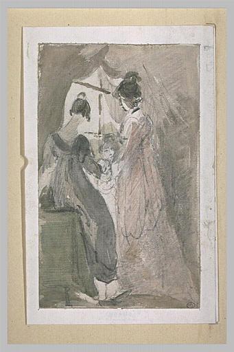 Deux dames et une fillette près d'une fenêtre