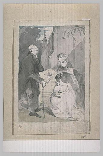 Un vieillard et deux jeunes filles devant une tombe