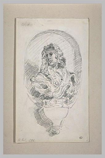 Croquis d'après un buste sculpté de jeune homme