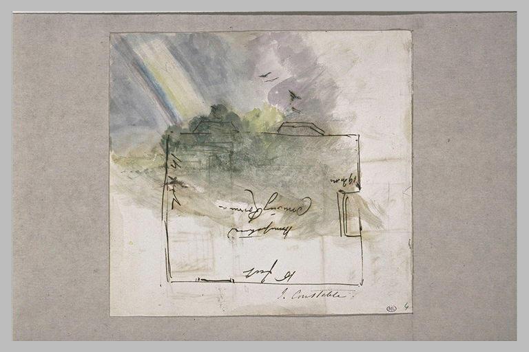 Paysage avec un  arc en ciel ; le plan d'une chambre