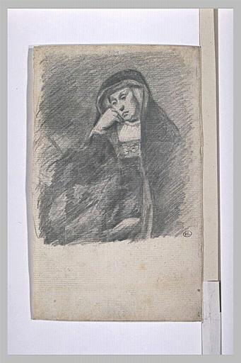 Femme assise, de trois quarts vers la gauche, la joue sur la main droite