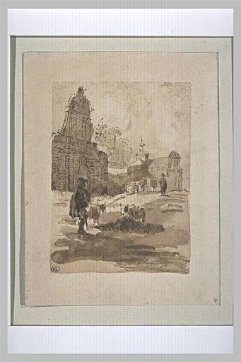 Berger devant une église