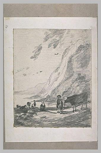 Personnages et bêtes au bord de l'eau, cernée de falaises