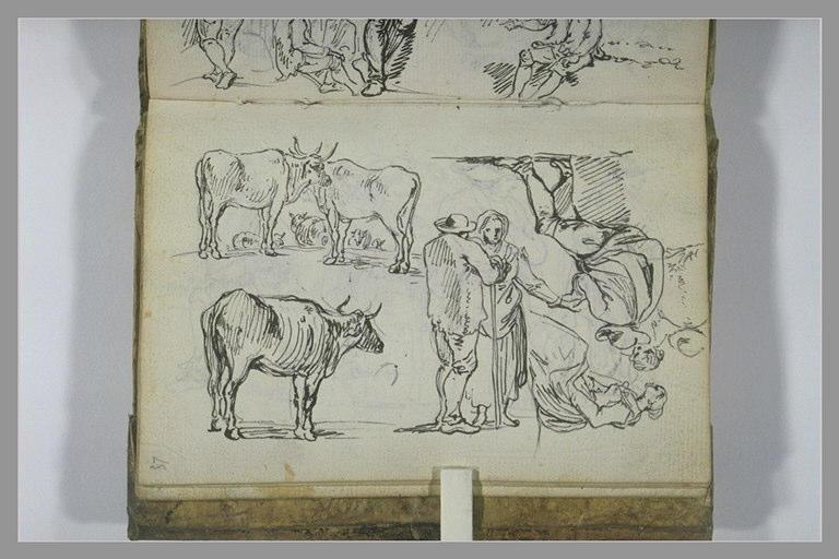 CONSTANTIN Jean Antoine : Etudes de paysans et de taureaux