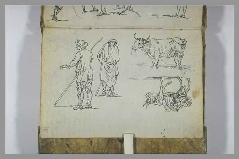 CONSTANTIN Jean Antoine : Etudes de paysans , d'un âne et d'un bovidé