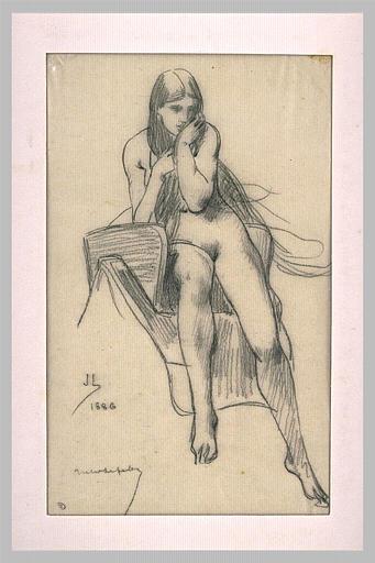 LEFEBVRE Jules Joseph : Femme nue, assise sur une selle, de face