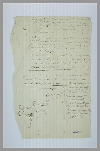 Scène de combat entre deux hommes et texte manuscrit