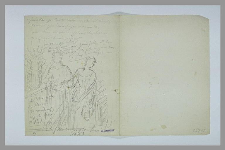Deux femmes debout de face et texte manuscrit