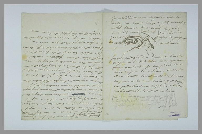 CHASSERIAU Théodore : Deux figures à mi-corps se faisant face, jambes, texte manuscrit