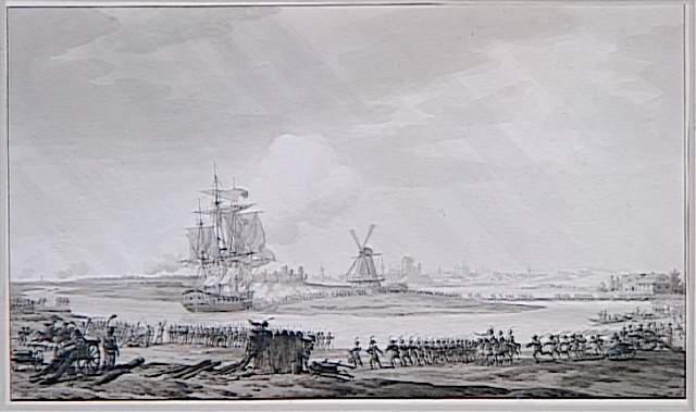 Rivière contournant une langue de terre sur laquelle se dresse un moulin ; Prise de la corvette anglaise 'La Jalouse' sur la Vistule le 19 mai 1809 (autre titre)