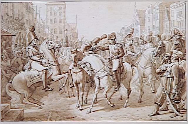 Dans une rue de ville allemande, Napoléon à cheval, tend la croix ; Napoléon décorant à Tilsit, de sa propre croix de la Légion d'Honneur, le 'premier grenadier de la Russie' Lazareff, du bataillon Preobrazenski, 8-7-1807 (autre titre)