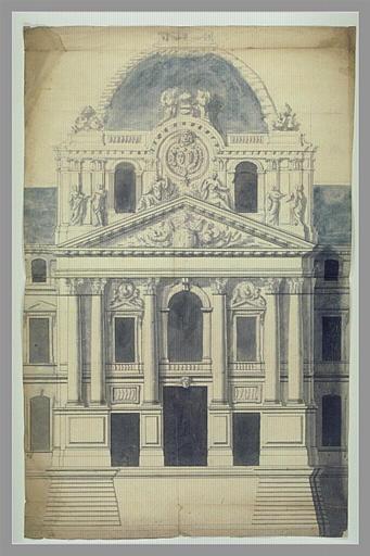 anonyme : Pavillon avec dôme : projet pour le palais du Louvre