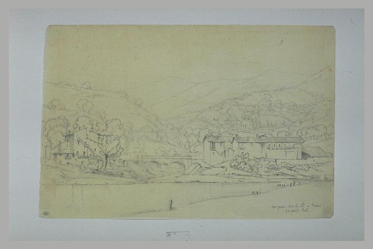 Vue de villas sur des collines, aux environs de Turin, prise sur le Pô