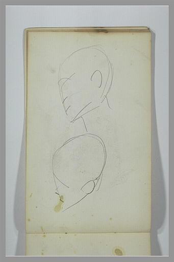 YVON Adolphe : Deux études d'une tête, de profil vers la gauche