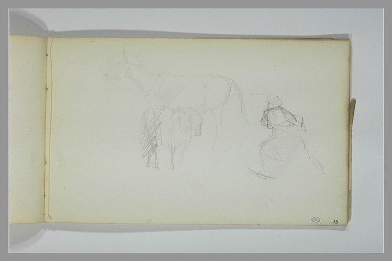 Etude de deux ânes et d'un personnage s'avançant vers la gauche