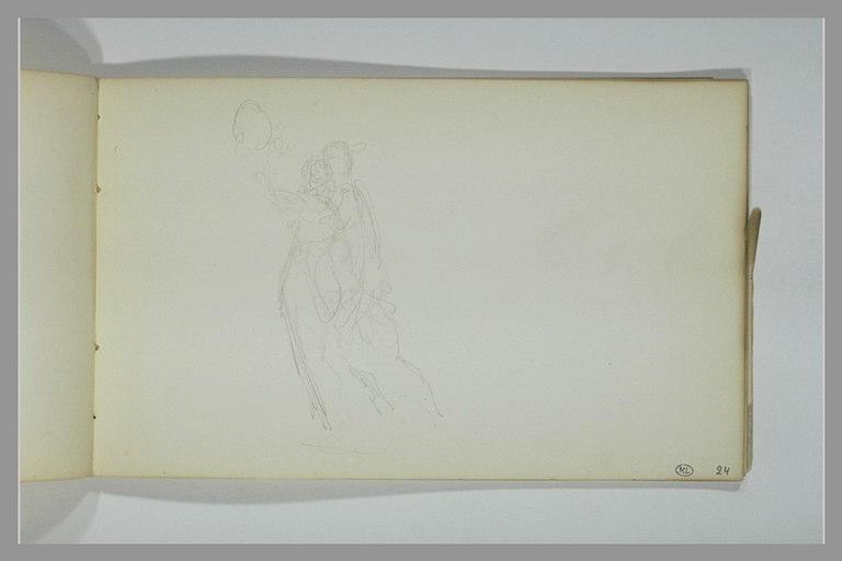 Deux figures enlacées portant un médaillon