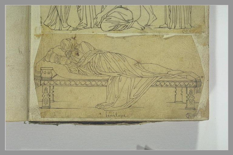 YVON Adolphe : Etude d'après l'antique : Pénélope allongée sur un lit