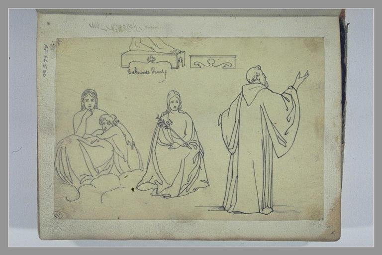 Etude de tabourets et de figures, d'après l'antique_0