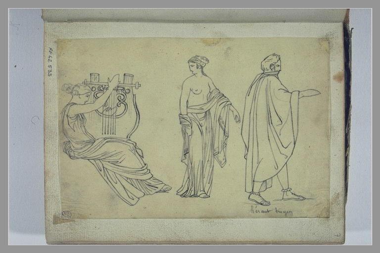 Trois figures dont l'une jouant de la lyre, d'après l'antique