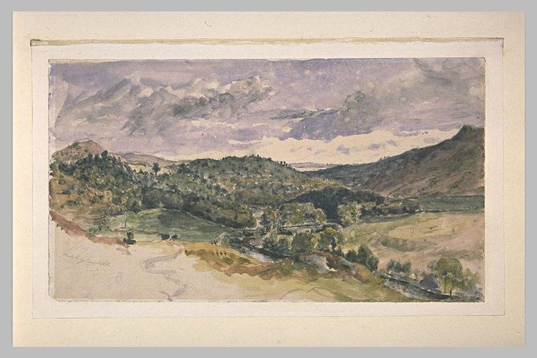 Paysage avec un petit ruisseau dans la vallée