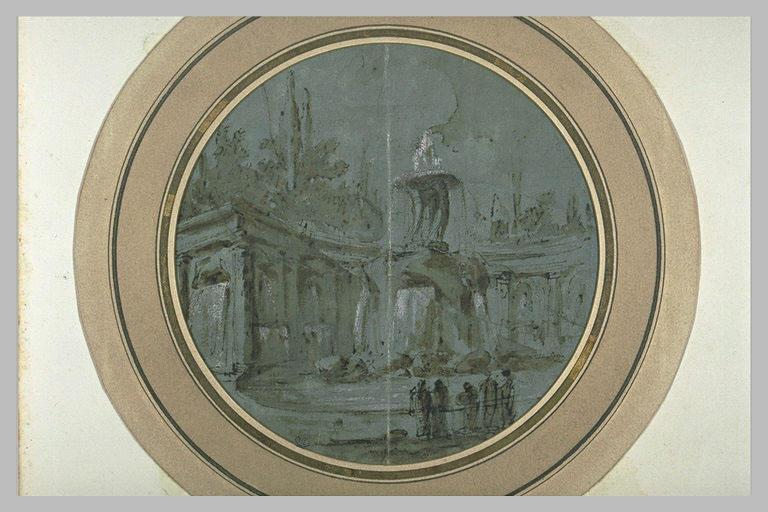 Fontaine baroque au milieu d'un hémicycle_0