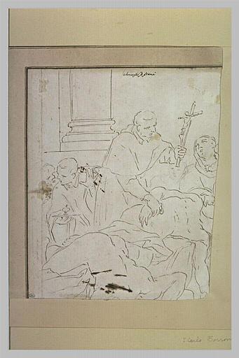 Mourant assisté d'un prêtre qui lui présente un crucifix
