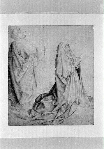 La Vierge agenouillée, priant et derrière elle, saint Pierre, debout