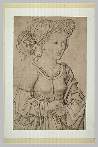 Femme à mi-corps, joignant les deux mains, tournée de trois quarts à droite