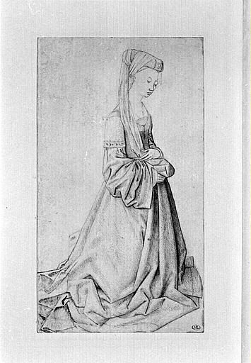 Femme agenouillée, de trois quarts à droite, coiffée d'un turban à voile