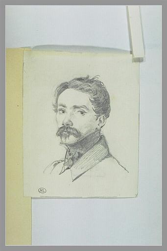 DELAROCHE Paul : Portrait d'un homme portant une moustache, en buste