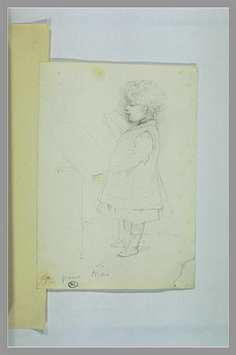 DELAROCHE Paul : Enfant vêtu d'une robe, debout, levant la main droite