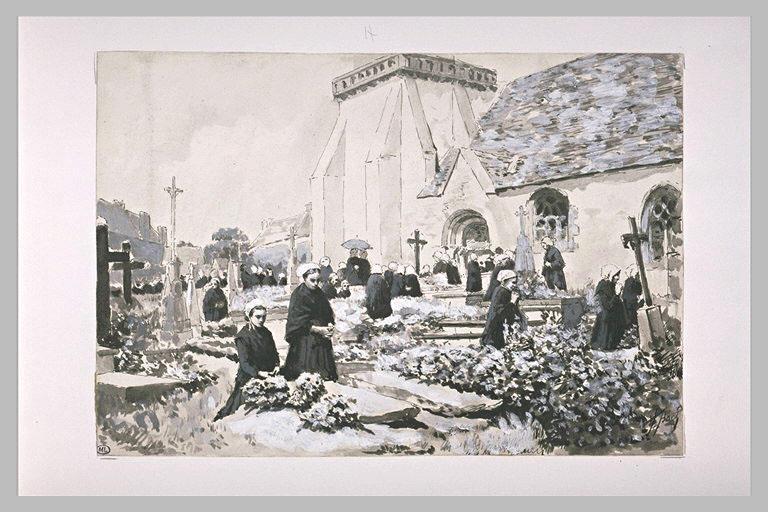 Au cimetière : Bretonnes en prières devant des tombes fleuries